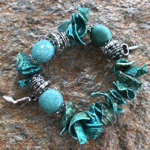 Turquoise shell and charm bracelet